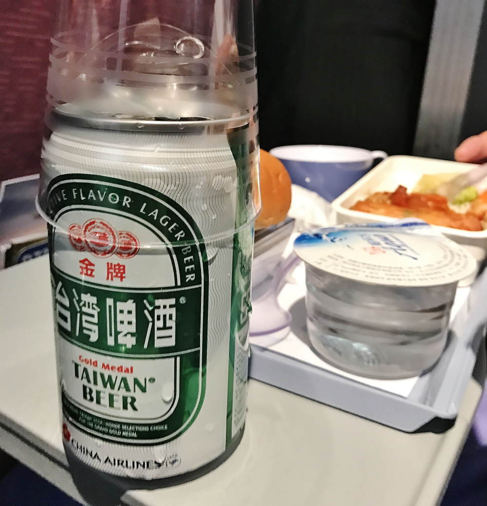 機内で台湾ビール